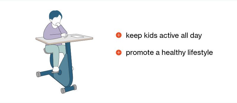 illustration of child using an exercise standing desk for kids with benefits and disadvantages listed