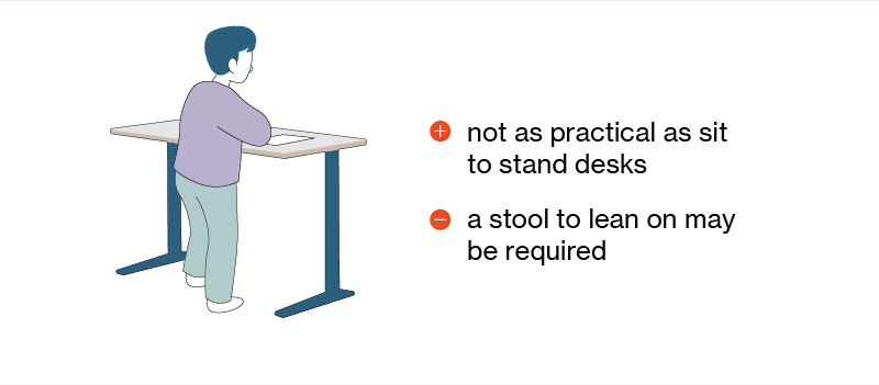 Child using a fixed standing desk