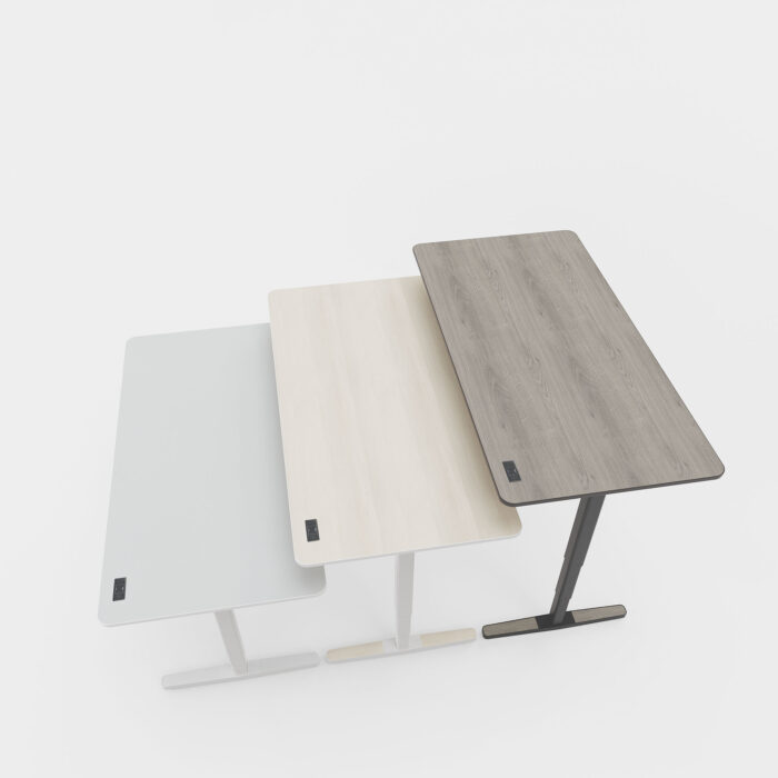 standing desks in every color at various heights